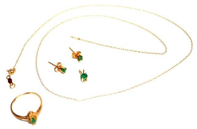 10KT Yellow Gold Emerald Suite, 3 Pieces