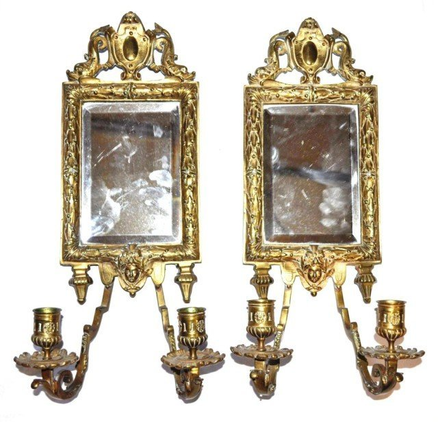 Antique Brass Mirrored Candle Sconces, Pair