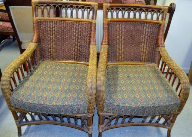 Wicker Lounge Chairs, Plus, Pair, 3 Pieces