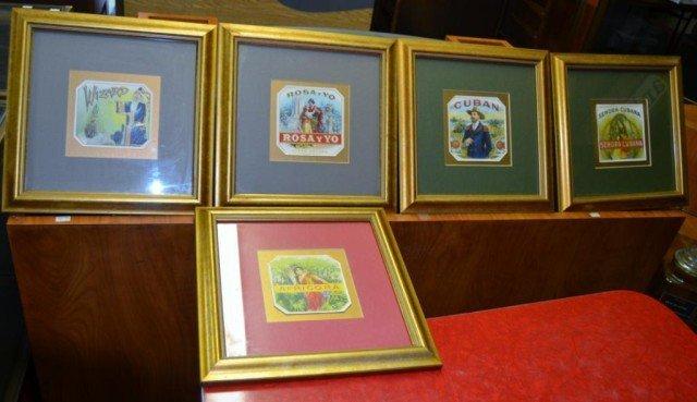 Framed Cigar Labels, 5 Pieces