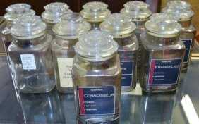 Glass Tobacco Jars, 10 Pieces