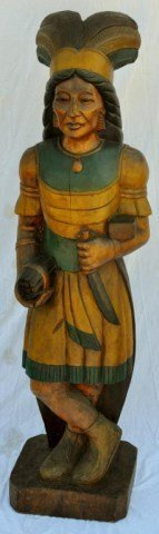 """Life Size 70"""" Samuel Robb Cigar Store Indian"""