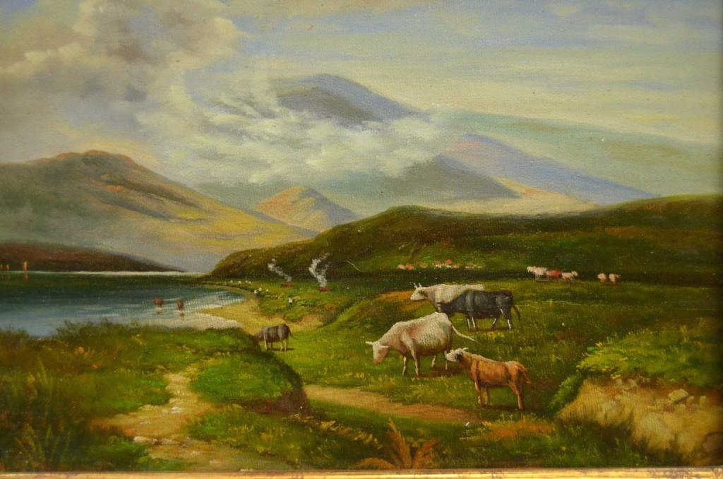 """Small Pastoral """"Cows in Field"""" Painting - 2"""