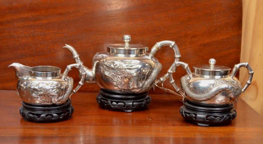 Chinese Sterling Repousse' Tea Service