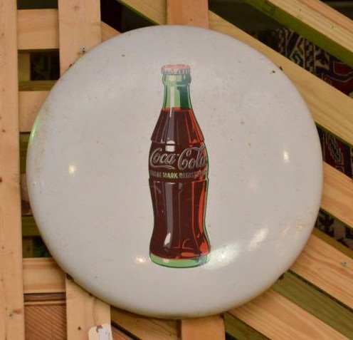 Coca-Cola Enameled Steel Button Sign