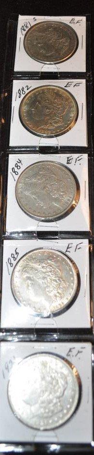 5 EF Morgan dollars