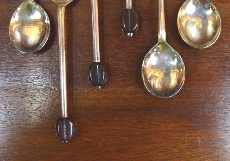 12 English Sheffield & Bakelite Demitasse Spoons - 2