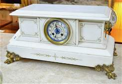 Victorian White Marble Mantle Clock