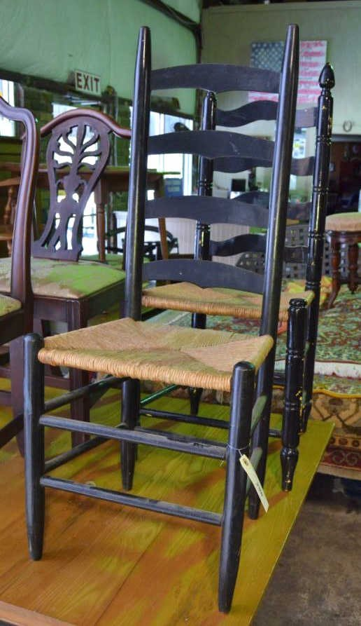 2 Painted Ladderback Chairs