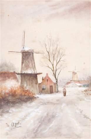 Louis APOL (1850-1936)-Les moulins-La cariole sous l