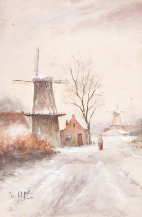 4: Louis APOL (1850-1936)-Les moulins-La cariole sous l