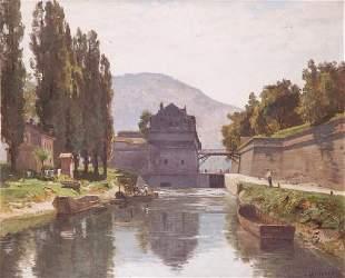 Marie-Victor-Emile ISENBART (1846-1921)Canal avec pê