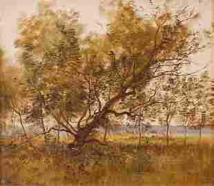 Léon RICHET (1847-1907) PaysageHuile sur panneau, si