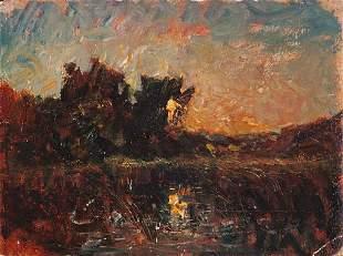 Auguste François RAVIER ( 1814-1895) Coucher de sol