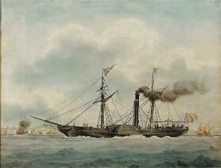 Frédéric ROUX (1805-1874)Bateau à Marseille, 1824Aq