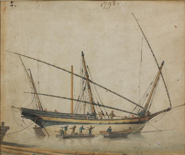 16: Antoine ROUX (1765-1835)Bateau au carénage, 1798Enc