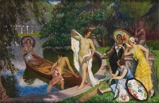 Henry BOUVET (1859-1945)Les élégantes au bain Huile