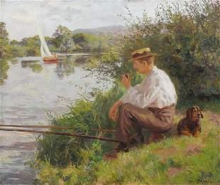 Ferdinand Joseph GUELDRY (1858-1945)Le pêcheur au b