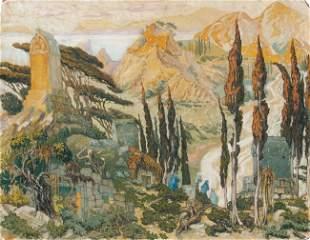 Léon BAKST - Ruines dans un paysage méditerranéen