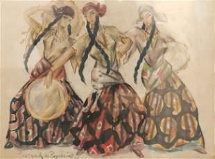 Georges de POGEDAIEFF - Danseuses tsiganes aux tambo