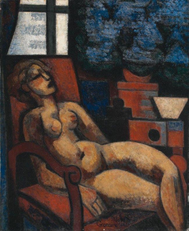 Marcel GROMAIRE - Nu aux fleurs bleues, 1930