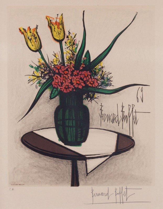 21: Bernard BUFFET-Bouquet de fleurs