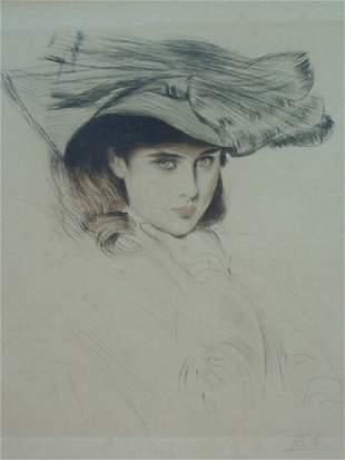 Paul César HELLEU-Portrait d'Ellen Helleu au chapea