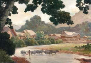 Mai Trung THU - Vue d'un village vietnamien, 1934