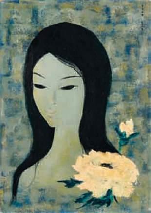 Mara TRAN-LONG - Portrait de femme à la fleur blanc