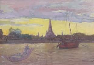 Ecole Laotienne du XXe - La pagode d'Arun construit