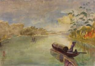 VO DOAN GIAP (XXe) - Rivière et jonques, 1950