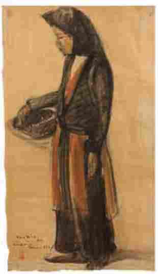 Louis ROLLET - Jeune femme au panier, Tonkin 1932