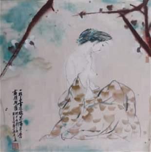 Liu GUOHUI - Jeune femme à la branche de prunier