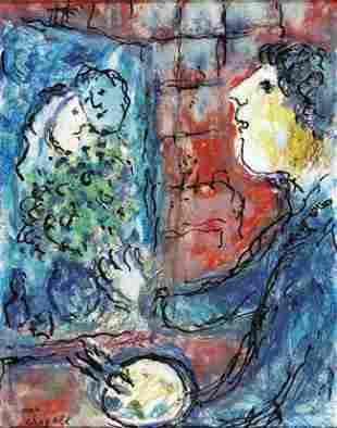 229: Marc CHAGALL - Le Peintre en Bleu au visage jaune,