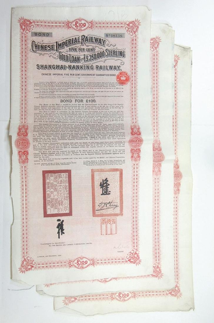 Chinese Imperial Railway 5% Gold Loan, Shanghai-Nanking