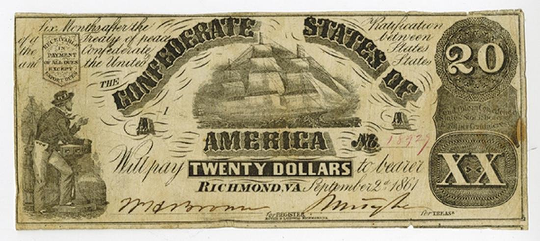C.S.A.  1861 $20 T-18, CR-129, Issued banknote.