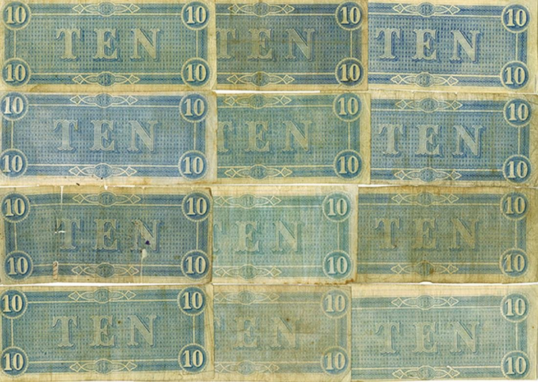 C.S.A. 1864, $10, Lot of 12 notes. - 2