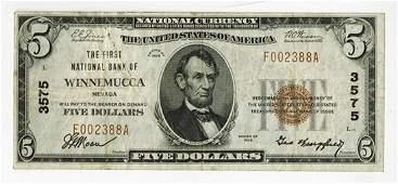 Winnemucca, NV - $5 Ty. 1, The First NB of Winnemucca,