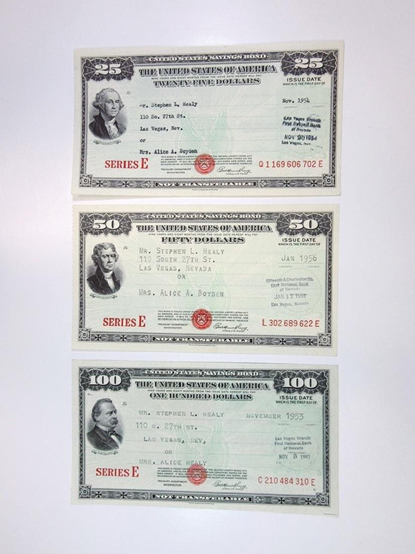 U.S. Savings Bond, Series E, 1953 to 1956 Lot of 3