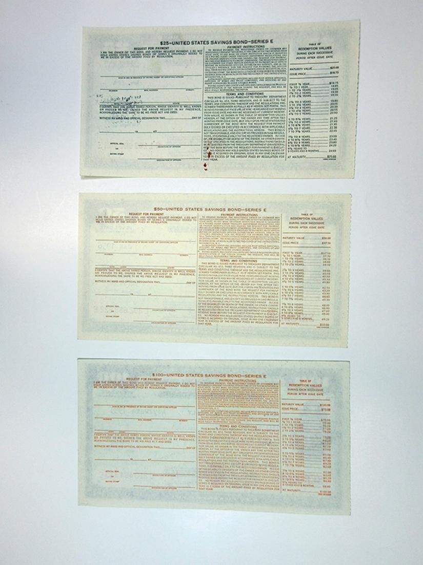 U.S. Savings Bond, Series E, 1953 to 1956 Lot of 3 - 2