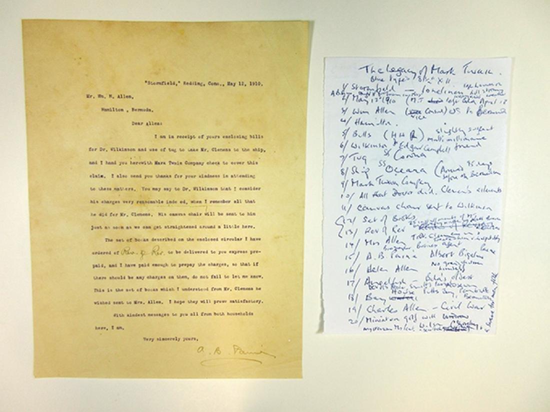 Albert Paine, Mark Twain Biographer, Letter from 1910