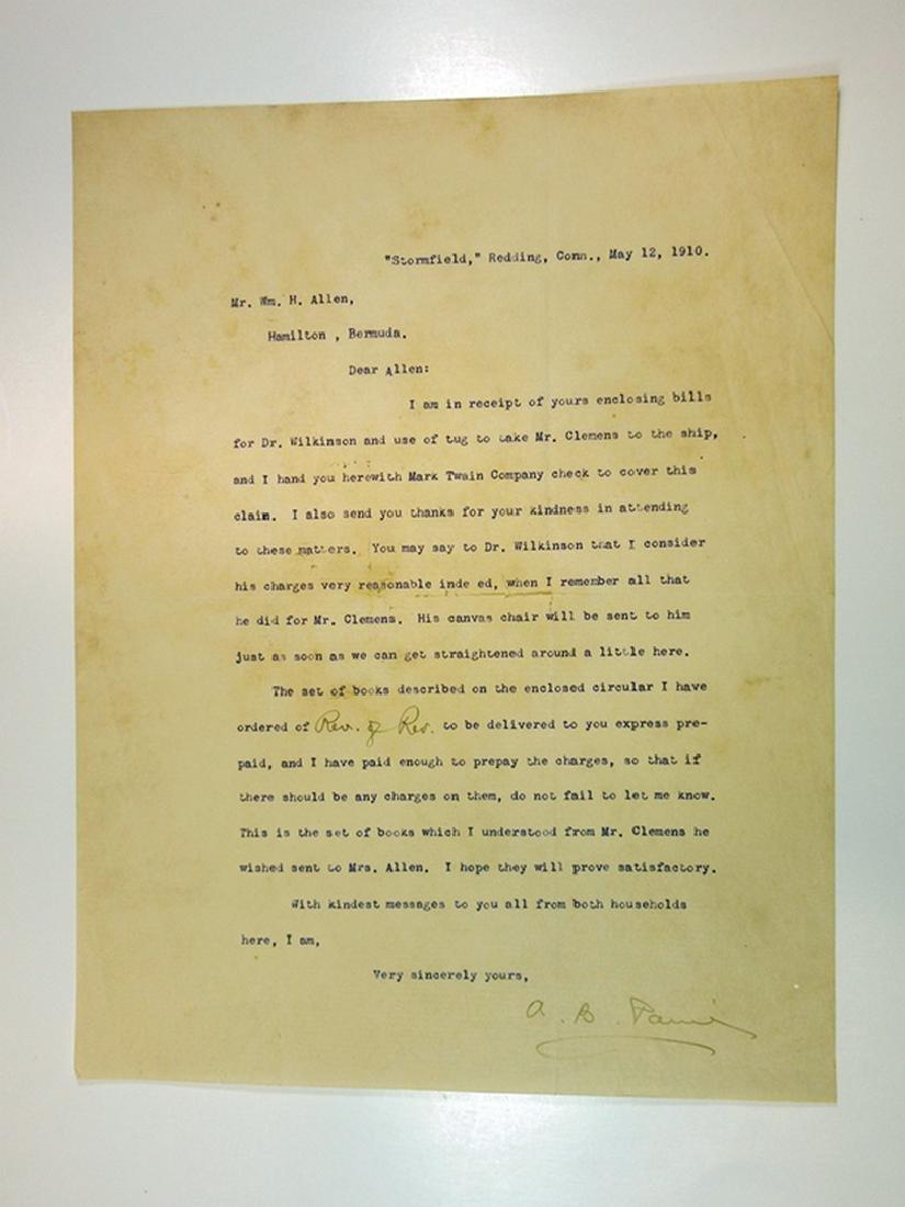 Albert Paine, Mark Twain Biographer, Letter from 1910 - 2