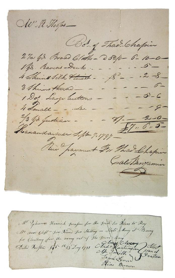 Receipts and I.O.U's ca.1781-1797 for Clothing for the