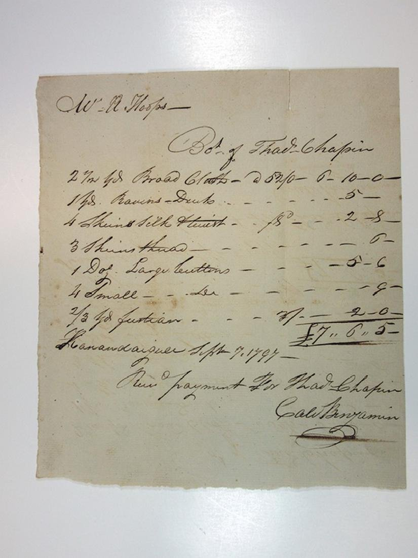 Receipts and I.O.U's ca.1781-1797 for Clothing for the - 2