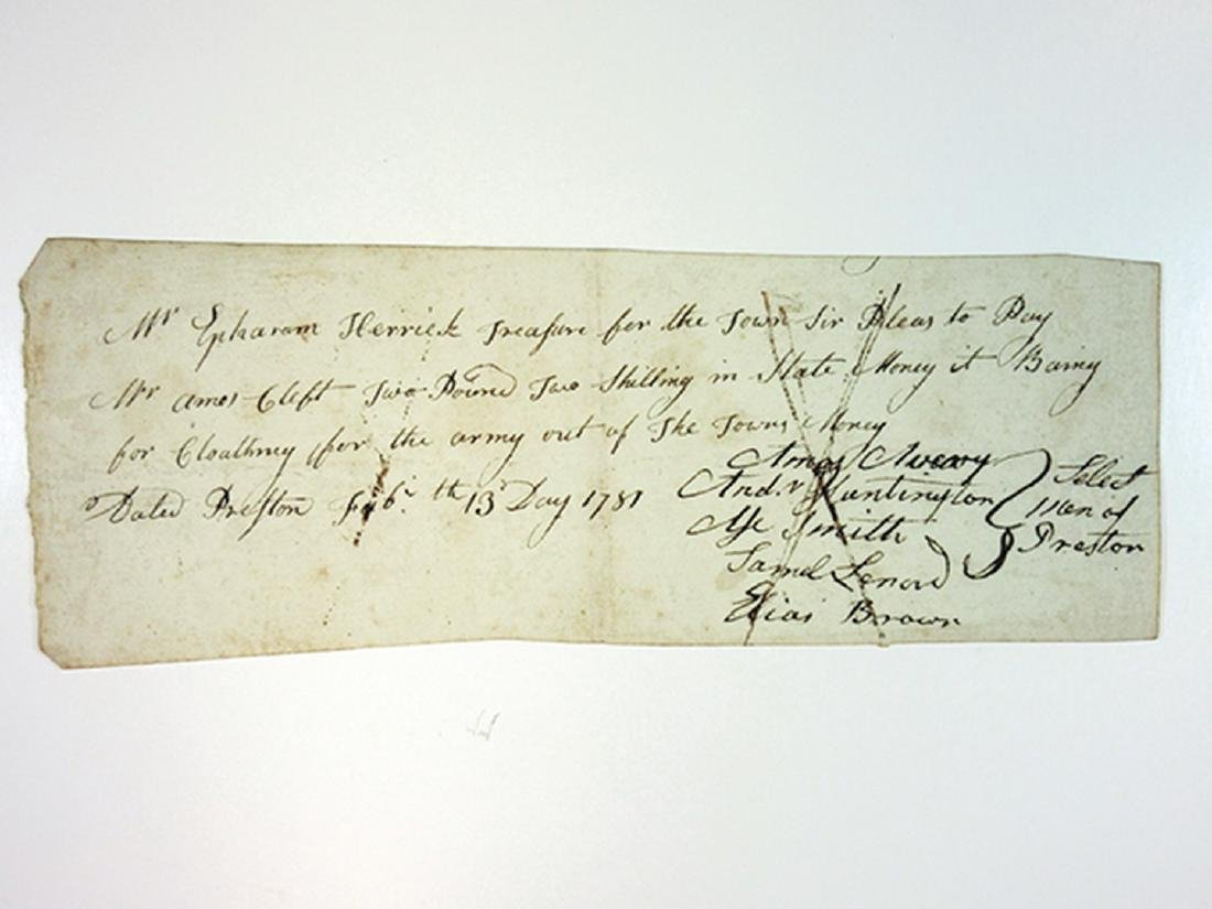 Receipts and I.O.U's ca.1781-1797 for Clothing for the - 3