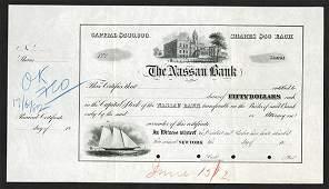 Nassau Bank. 1882 Unique Approval Proof Stock