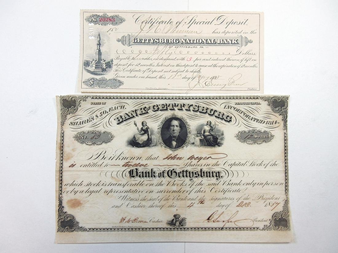 Gettysburg National Bank 1857 Stock Certificate and CD,