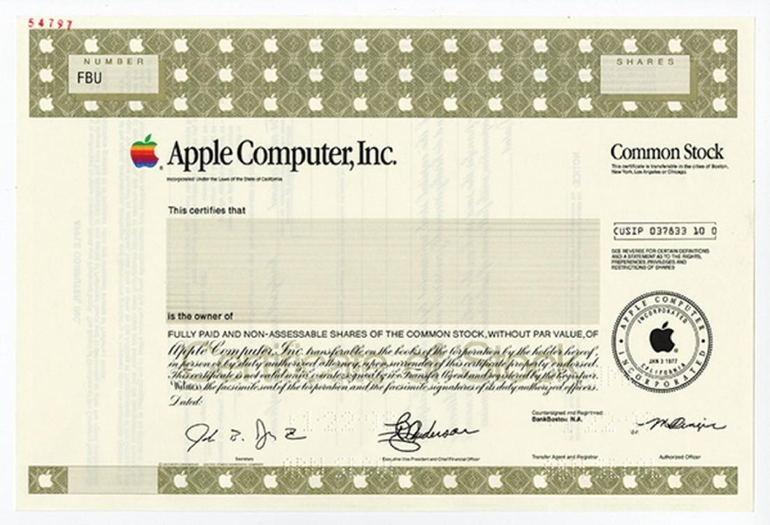 Apple Computer Inc., 1999 Specimen Stock Certificate.