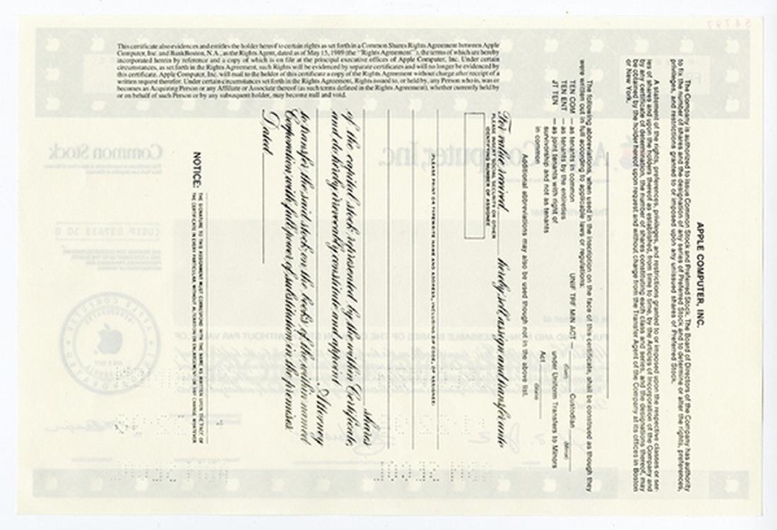 Apple Computer Inc., 1999 Specimen Stock Certificate. - 2