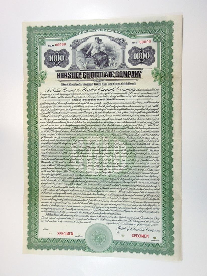 Hershey Chocolate Co., 1922 Specimen Bond